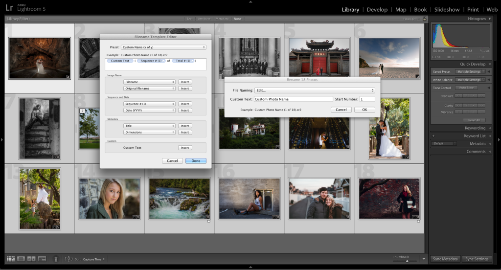 Lightroom 5 Filename Template Editor